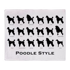 Poodle Styles: Black Throw Blanket by pawpicdesigns