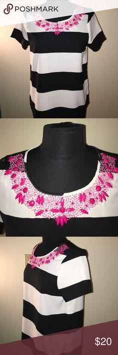 Pim + Larkin top Cute Pim + Larkin black and white striped top with pink embellishment around top collar. Pim + Larkin Tops