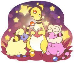 Someone requested a Mareep after my last Pokemon drawing, so I took the time to draw one of my favorite Pokemon families ever! Love all three of these pokies <3