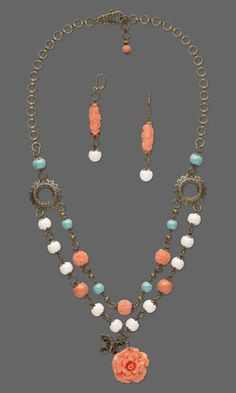 Double-Strand Necklace and Earring Set with SWAROVSKI ELEMENTS, Resin Beads and Focal and Antiqued Gold-Plated Components