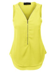 Womens Sleeveless Chiffon Front Zip Up Blouse Top Mais Casual Outfits, Fashion Outfits, Yellow Blouse, Yellow Top, Work Attire, Blouse Styles, Corsage, Sleeveless Blouse, Chiffon Tops