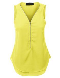 LE3NO Womens Sleeveless Chiffon Front Zip Up Blouse Top