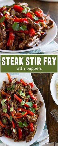 Flank steak is cooked with peppers and onions in this Steak Stir Fry Recipe with Peppers. Fresh orange zest makes this stir fry recipe pleasantly different. recipes for two recipes fry recipes Steak Stirfry Recipes, Stir Fry Recipes, Steak Recipes, Cooking Recipes, Wok Recipes, Sandwich Recipes, Easy Dinner Recipes, Easy Meals, Dinner Ideas