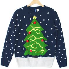 H&M Christmas Tree Navy Blue Tacky Ugly Holiday Sweater