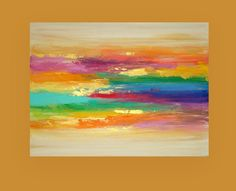 "Art Acrylic Abstract Painting Original Canvas Art Titled: WATERFALL 9 30x40x1.5"" by Ora Birenbaum"