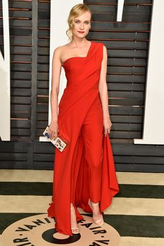 Diane Kruger, wearing Donna Karan Atelier, Jimmy Choo shoes and a clutch by Anya Hindmarch at the Vanity Fair Oscar party
