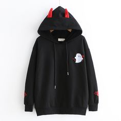 New cute little devil embroidered hoodie sold by Harajuku fashion. Shop more products from Harajuku fashion on Storenvy, the home of independent small businesses all over the world. Harajuku Mode, Estilo Harajuku, Harajuku Fashion, Kawaii Fashion, Cute Fashion, Harajuku Style, Harajuku Clothing, Emo Fashion, Workwear Fashion