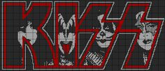 Browse all of the Kiss Cross Stitch photos, GIFs and videos. Find just what you're looking for on Photobucket Bead Loom Patterns, Beading Patterns, Cross Stitch Charts, Cross Stitch Patterns, Cross Stitching, Cross Stitch Embroidery, Banda Kiss, Modele Pixel Art, Graph Paper Art