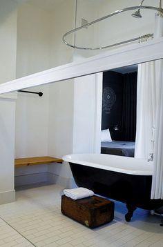 black tub, wood box. Ace hotel, Seattle WA