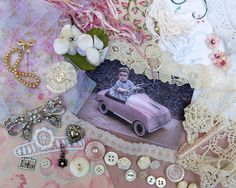 Vintage Mixed, Multi Media Kit 23 ... Carol & her Pink Peddle Car… for fabric, textile journals, books, collage, crazy quilts, altered art