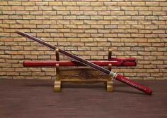 Katana,Ninja Sword,Folded steel red blade,Wood scabbard,Alloy fitting,Full tang,Length 39 inch
