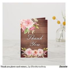Shop Thank you photo card watercolored dahlia flowers created by EllenMariesParty. Thank You Photos, Photo Thank You Cards, Custom Thank You Cards, Wedding Thank You Cards, Photo Cards, Country Style Wedding, Rustic Wedding, Wedding Trends, Wedding Designs