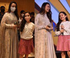 Namrata Shirodkar and Sitara at Funtastic Tara web series launch event! Polka Dot Sweater, Pink Sweater, Golden Lehnga, India Fashion, Kids Fashion, Kids Pattu Pavadai, Pattu Saree Blouse Designs, Kids Dress Patterns, Skirt And Sneakers