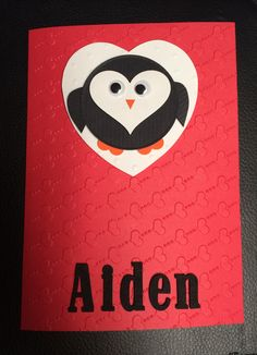 This is a card I made for Aiden Kramer, a little boy who is battling cancer.  His birthday is on Valentine's Day and he will be three years old.  He has asked that people send him cards for his birthday. Cards can be sent to: Aiden Kramer, c/o Ilene Martin, UPS Box 380, 1191 Huntington Dr., Duarte, CA 91010