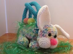 Crocheted / Knitted multicolor easter bunny rabbit easter basket BUY ME! Knitty1Crochet2.etsy.com