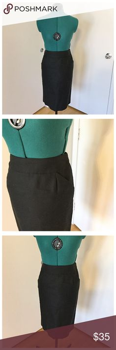 Black J. Crew Factory Pencil Skirt with Pockets Must have staple for any wardrobe. J. Crew Factory Skirts Pencil