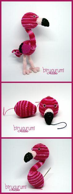 "amigurumi crochet flamingo fenicottero pink rosa uncinetto bird ""Francesca Birini"" https://amigurumi.today/crochet-baby-flamingo-amigurumi-pattern/"