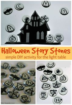 Halloween themed story stones! A fun light table activity that encourages imaginative play! Play with ghosts and witches in a haunted house. Turn simple gems into story stones. Fun off the light table too! Perfect for preschools and homeschool! #halloweenactivities #lighttable #preschool