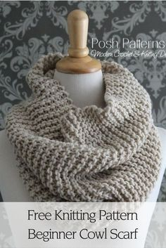 Free Knitting Pattern - A gorgeous Beginner Knit Cowl Pattern that's perfect for anyone! It's incredibly easy to knit, and the scarf itself can be worn by everyone, including men!