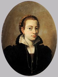 Portrait of Minerva Anguissola [1564] by petrus.agricola, via Flickr.  Many of the early Anguissola paintings (when she still lived in Italy) show her and her sisters to be wearing their hair in braids, quite easily seen usually (not covered in a hair net, or obscured by hair jewelry), and with very mild rolling of the hair just back from the hairline.