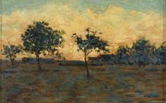 Seurat often used the chromoluminarism technique in his painting. With this technique, the artist places colours side-by-side in a way that the viewer optically combines them to create new colours.  'Sunset' by Georges Seurat (1859–1891), Bristol Museum #happybirthday #art #onthisday #arthistory #painting #historyofart #postimpressionism