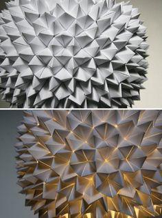 White Folded Paper Hanging Sphere Lamp