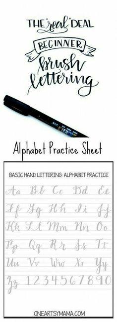 Cursive alphabet: Brush Lettering Practice Page Lettering Brush, Creative Lettering, Lettering Ideas, Lettering Styles, Alphabet Practice Sheets, Caligraphy Practice Sheets, Hand Lettering Practice, Calligraphy Practice, Penmanship Practice