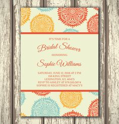 Colorful Floral Bridal Shower Invitation - Printable by ANABDesign on Etsy