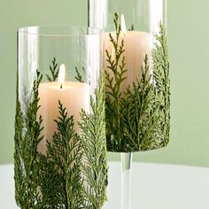 Use spray adhesive to glue evergreens to outside of vases. Insert candles or flowers.