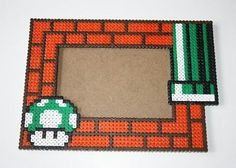 Mario photo frame hama beads by pausa_perler