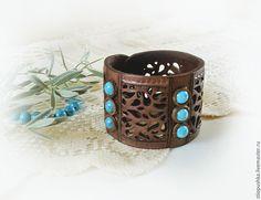 """Купить Ажурный браслет из кожи """"Бирюза"""" - коричневый, бирюзовые бусины, подарок, браслет в подарок"""
