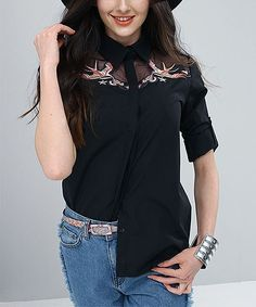 Black Swallow Embroidered Button-Up