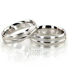 Fine Brush Finish Basic Designer Wedding Ring Set