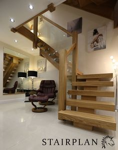 glass, steel and oak staircase - Google Search
