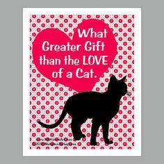 Cat Print  Cat Poster  Cat Art  What Greater by PawsomeArtDesigns