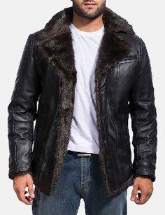 Mens Furcliff Black Leather Coat - Men Jackets - Ideas of Men Jackets Mens Leather Coats, Men's Leather Jacket, Black Leather, Mens Fur Collar Jacket, Jacket Men, Real Leather, Rugged Style, Style Men, Black Fur Jacket