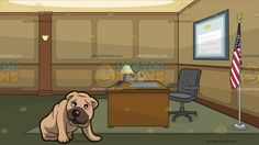 A Bashful Shar Pei Dog With A Government Office Background :  A dog with small triangle ears and a high set curled tail sand colored wrinkly coat brown muzzle sits on the floor while slightly bowing its head and A room with brown and beige walls moss green floor with carpet a brown desk with a table lamp gray mat and swivel chair a flag of the United States in a silver pole is placed in the corner and a big blue rectangular certificate frame hangs on the center wall