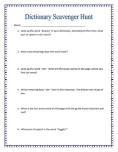 It is Maniac Monday at Classroom Freebies and I am linking up with a dictionary activity I use with my students each year. 2nd Grade Reading Comprehension, 2nd Grade Reading Worksheets, Spelling Worksheets, Vocabulary Worksheets, Teacher Worksheets, Printable Worksheets, Free Worksheets, Reading Strategies, Free Printable