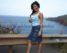 Denise Milani Standing Jean Skirt White Top By Guardrail 8x10 Photo 1129