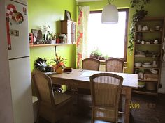 cozy kitchen-chartreuse walls, persimmon accent