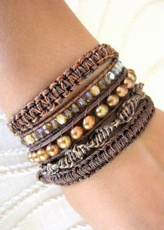 Beaded Leather Wrap Bracelet With Freshwater Pearls and Gold Button Clasp - Shades of Brown.