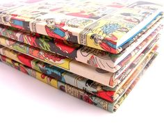 Comic covered notebook. $35.00, via Etsy.