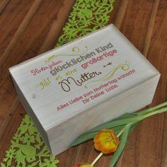 Bedruckte Holzbox als Geschenk-Verpackung zum Muttertag