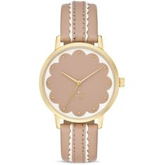 kate spade new york Round Vachetta Leather Strap Scalloped Dial Metro... ($195) ❤ liked on Polyvore featuring jewelry, watches, beige, dial watches, leather-strap watches, kate spade, kate spade watches and kate spade jewelry