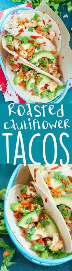 Fresh Mex Vegan Roasted Cauliflower Tacos :: taco night with a healthy twist!