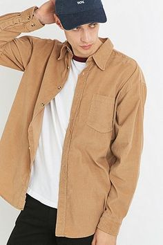 Urban Renewal Vintage Customised Sand Corduroy Shirt - Urban Outfitters