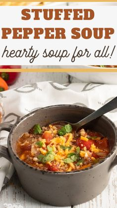 Stuffed Pepper Soup, Stuffed Peppers, Best Hamburger Soup Recipe, Beef Soup Recipes, Easy Delicious Recipes, Healthy Recipes, Green Pepper Soup, Soup With Ground Beef, Easy Family Dinners