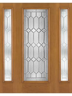 "Exterior Door with Two Sidelites Oak Fiberglass Full Lite Crystalline 6'8"" WBDR 2 Sidelite by Therma Tru"