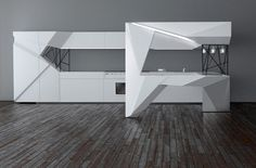 Moscow-based designer Olga Kryukova has designed the Origami-mi Kitchen. As the name indicates, the kitchen design is inspired by the ancient Japanese New Kitchen Designs, Luxury Kitchen Design, Origami Triangle, Fun Origami, Origami Design, Architecture Origami, Origami Furniture, Kitchen Triangle, Futuristic Interior