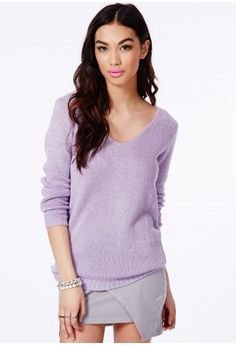 e34ba962390 Missguided - Ollie V-Neck Fluffy Knit Jumper In Lilac
